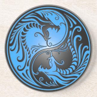Dragones, azul y negro de Yin Yang Posavasos Cerveza