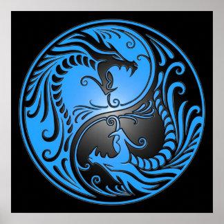 Dragones, azul y negro de Yin Yang Póster