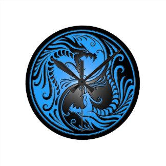 Dragones, azul y negro de Yin Yang Relojes