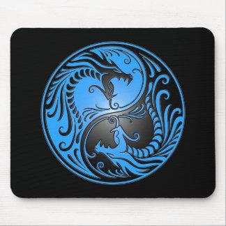 Dragones azul y negro de Yin Yang Alfombrilla De Raton