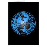 Dragones, azul y negro de Yin Yang Tarjeton