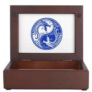 Dragones azules adaptables de Yin Yang Caja De Recuerdos