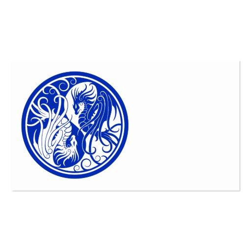 Dragones azules de Yin que vuelan Yang Tarjetas De Negocios