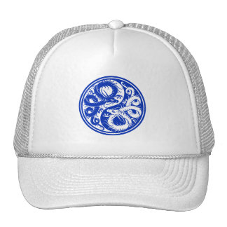 Dragones azules del chino de Yin Yang Gorras De Camionero