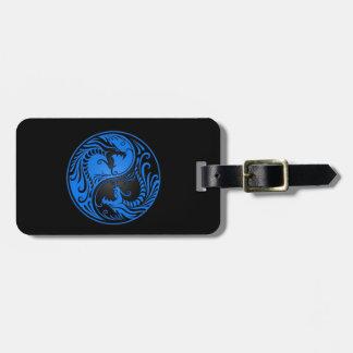 Dragones azules y negros de Yin Yang Etiqueta De Equipaje