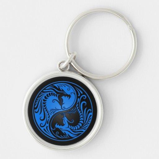 Dragones azules y negros de Yin Yang Llaveros Personalizados