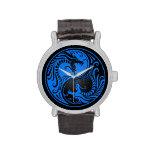Dragones azules y negros de Yin Yang Relojes