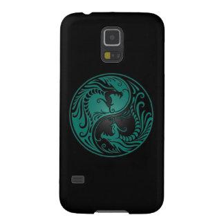Dragones azules y negros del trullo de Yin Yang Carcasas De Galaxy S5
