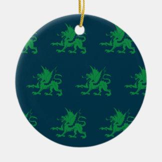 Dragones azulverdes adorno de navidad