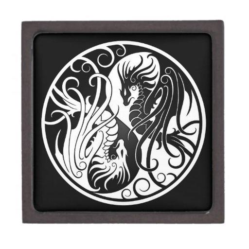 Dragones blancos y negros de Yin que vuelan Yang Caja De Regalo De Calidad