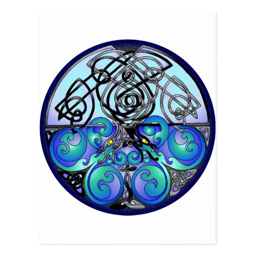 Dragones célticos Azul-Grises Tarjeta Postal