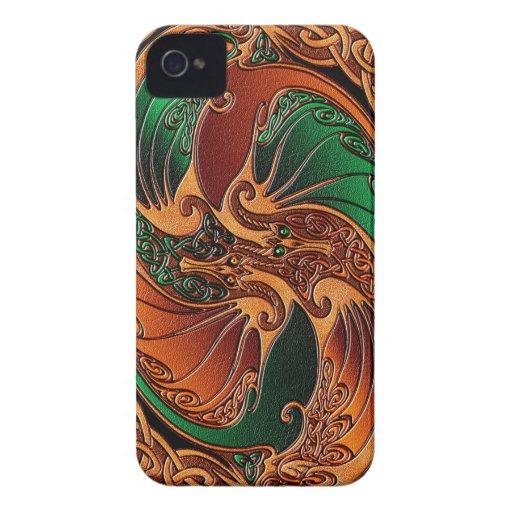 Dragones célticos iPhone 4 Case-Mate cárcasas