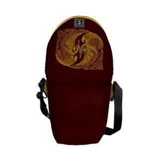 Dragones célticos ornamentales bolsas de mensajería
