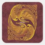 Dragones célticos ornamentales pegatina cuadrada