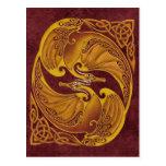Dragones célticos ornamentales postal