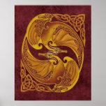 Dragones célticos ornamentales poster