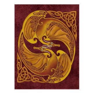 Dragones célticos ornamentales tarjetas postales