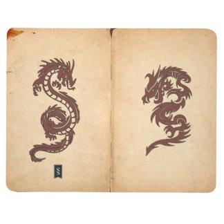 Dragones chinos de la mitología, papel viejo - cuadernos grapados