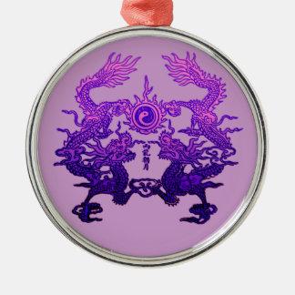 Dragones CHINOS de la púrpura del AÑO NUEVO Adorno Navideño Redondo De Metal