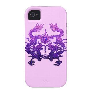 Dragones CHINOS de la púrpura del AÑO NUEVO iPhone 4 Funda