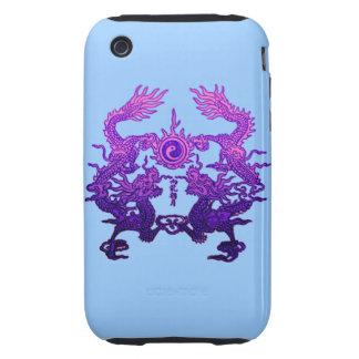 Dragones CHINOS de la púrpura del AÑO NUEVO iPhone 3 Tough Protectores