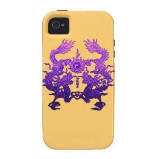 Dragones CHINOS de la púrpura del AÑO NUEVO Case-Mate iPhone 4 Fundas