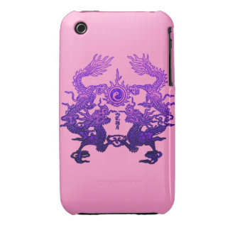Dragones CHINOS de la púrpura del AÑO NUEVO iPhone 3 Case-Mate Carcasa