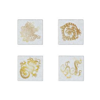 Dragones chinos de oro fijados - 4 imanes 1 imán de piedra