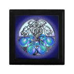 Dragones chinos del arte céltico azules y negros caja de joyas