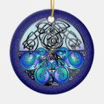 Dragones chinos del arte céltico azules y negros adorno