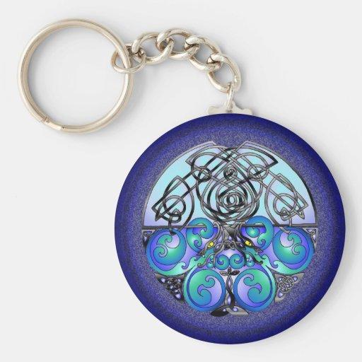 Dragones chinos del arte céltico azules y negros llaveros personalizados