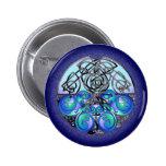 Dragones chinos del arte céltico azules y negros pin