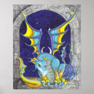 Dragones con el poster grande del arte de la fanta