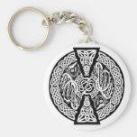 Dragones de Knotwork del Celtic Llavero Redondo Tipo Pin