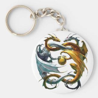 Dragones de la batalla llavero redondo tipo pin