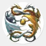 Dragones de la batalla pegatinas redondas