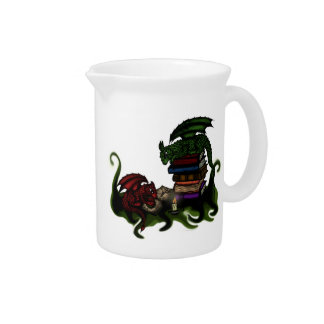 Dragones de la biblioteca jarra de beber