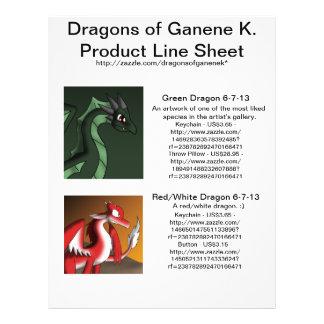 """Dragones de la línea de productos de Ganene K. Folleto 8.5"""" X 11"""""""