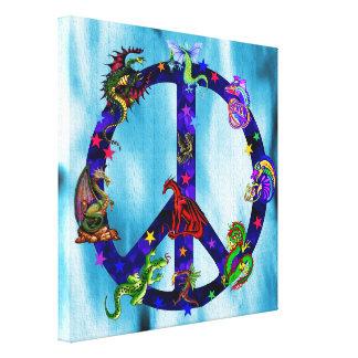 Dragones de la paz lienzo envuelto para galerias