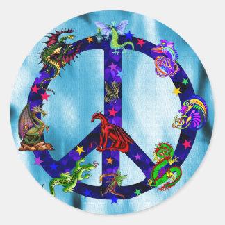 Dragones de la paz pegatina redonda