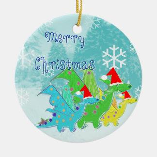 Dragones de las Felices Navidad Adornos De Navidad
