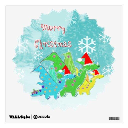 Dragones de las Felices Navidad Vinilo Decorativo