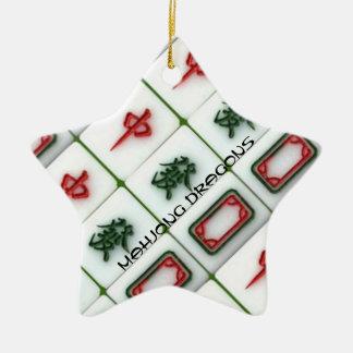 Dragones de Mahjong Ornamento De Navidad
