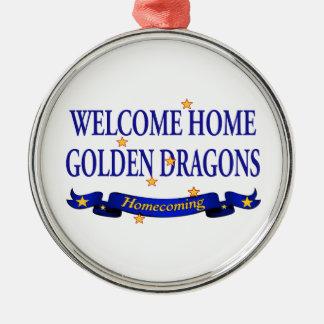 Dragones de oro caseros agradables adornos de navidad