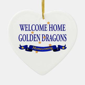 Dragones de oro caseros agradables ornato