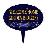 Dragones de oro caseros agradables figura de tarta