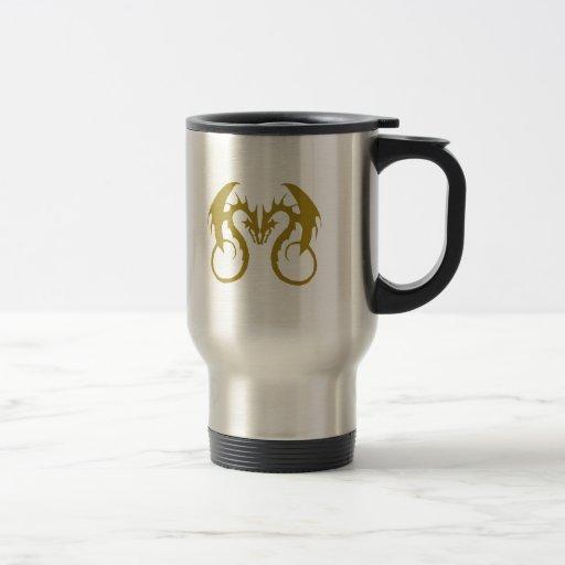 Dragones de oro del amor taza de café