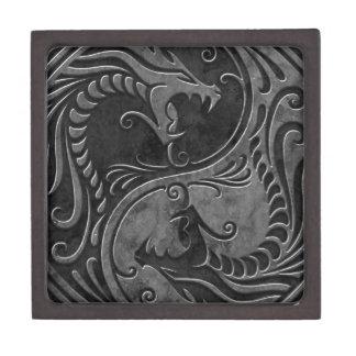 Dragones de piedra de Yin Yang Caja De Joyas De Calidad