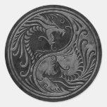 Dragones de piedra de Yin Yang Etiquetas Redondas