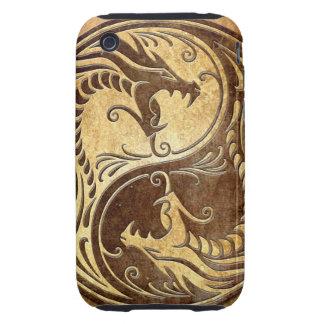 Dragones de piedra de Yin Yang Tough iPhone 3 Carcasas
